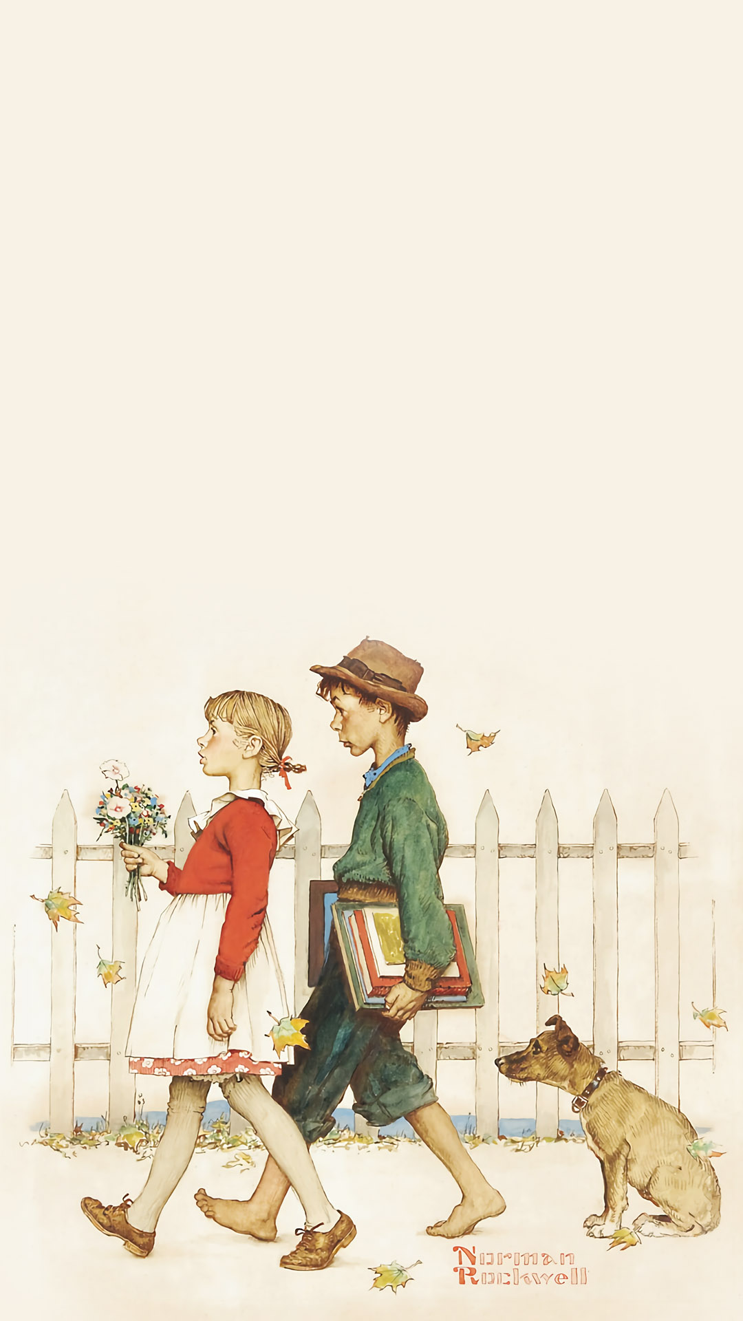 Norman Rockwell - Young Love- Walking to School 1 1080x1920