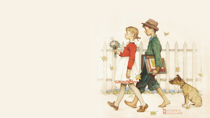 Norman Rockwell - Young Love- Walking to School 1920x1080