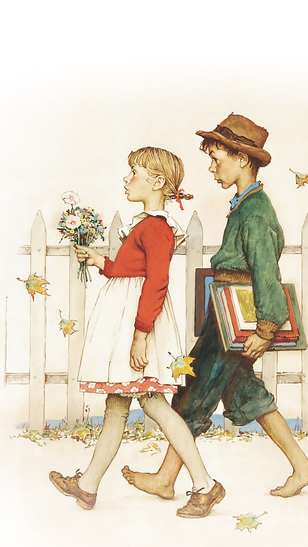 Norman Rockwell - Young Love- Walking to School 2 1080x1920