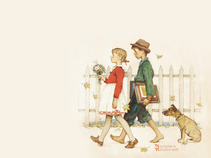 Norman Rockwell - Young Love- Walking to School 2732x2048