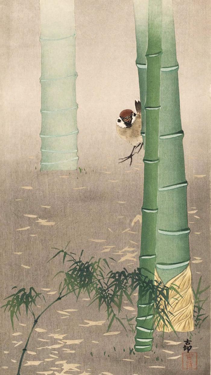 Ohara koson - Sparrow and Bamboo 1080x1920