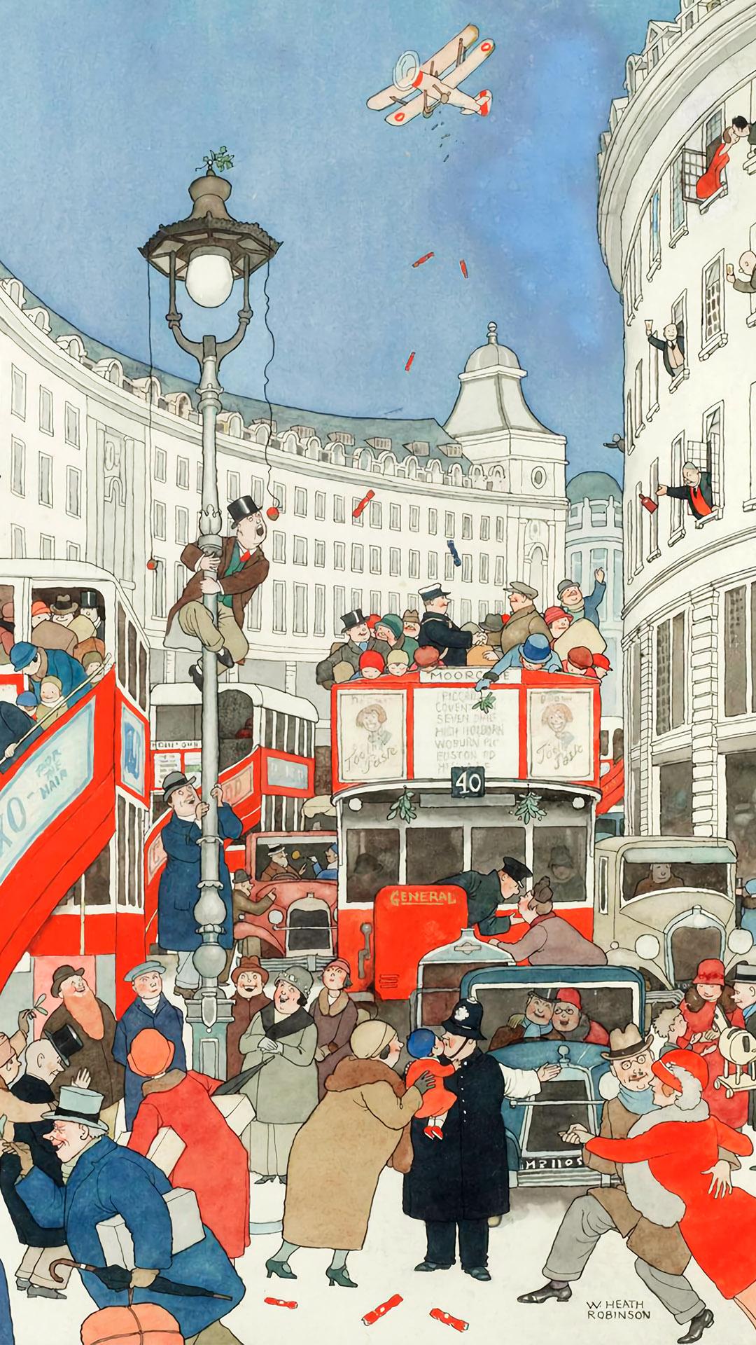 William Heath Robinson - The Spirit Of Christmas In Regent Street 1080x1920