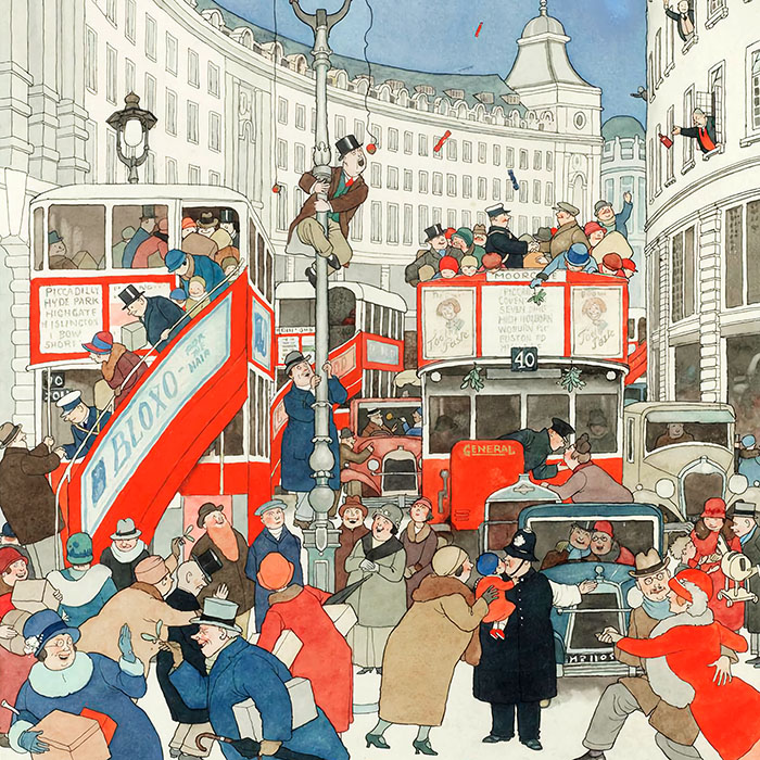 William Heath Robinson - The Spirit Of Christmas In Regent Street d