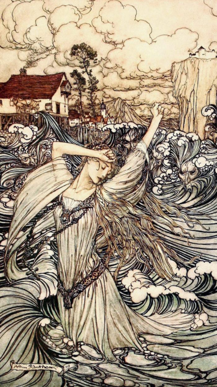 Arthur Rackham - Undine Plunges into the Danube 1080x1920