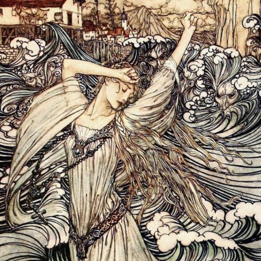 Arthur Rackham - Undine Plunges into the Danube d