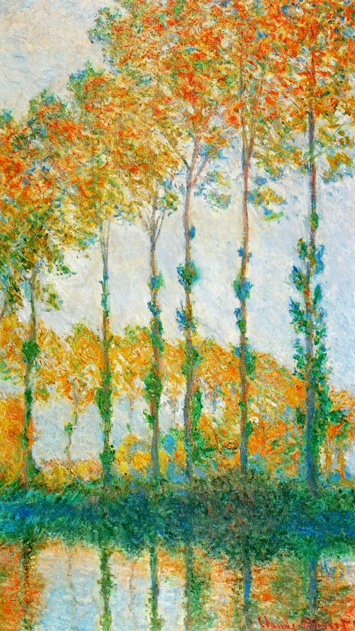 Claude Monet - Poplars Along the River Epte, Autumn 1080x1920