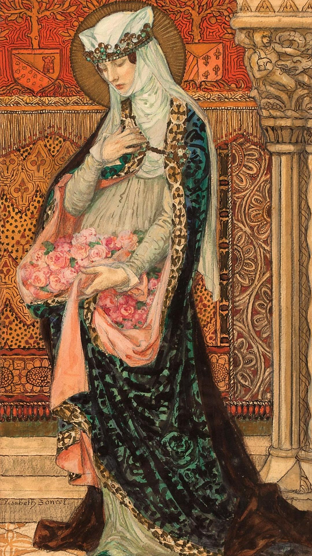 Elisabeth Sonrel - Portrait of a Renaissance woman holding roses 1080x1920