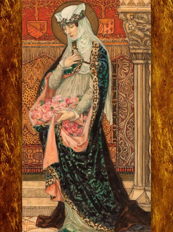 Elisabeth Sonrel - Portrait of a Renaissance woman holding roses 2048x2732