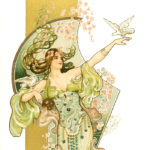 エヴァ・ダニエル / woman in light green & purple, dove on outstretched hand & right upper arm