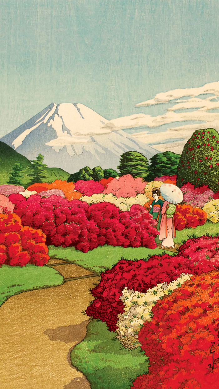 Kawase Hasui - Tsutsujiniwa ni asobu futabijin 1080x1920