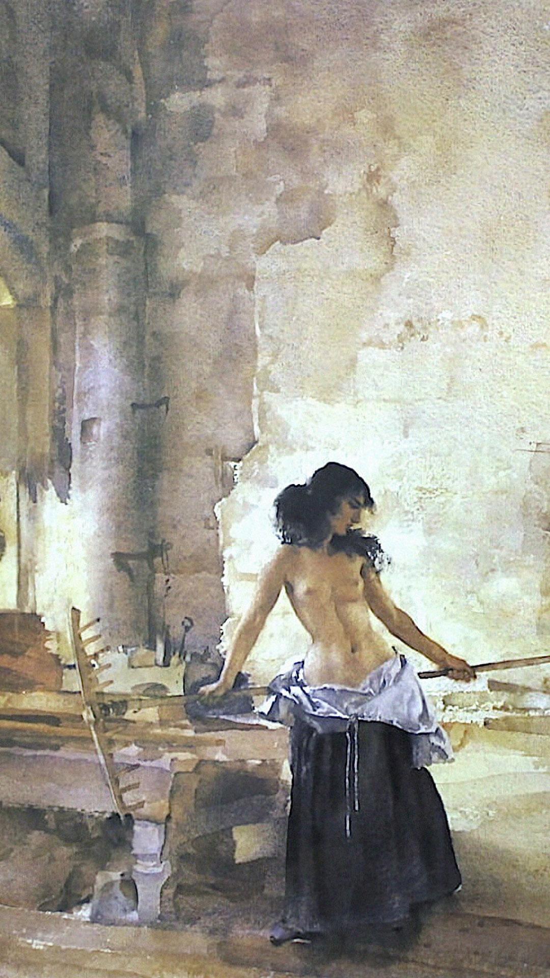William Russell Flint - In a Burgundian Granary 1080x1920