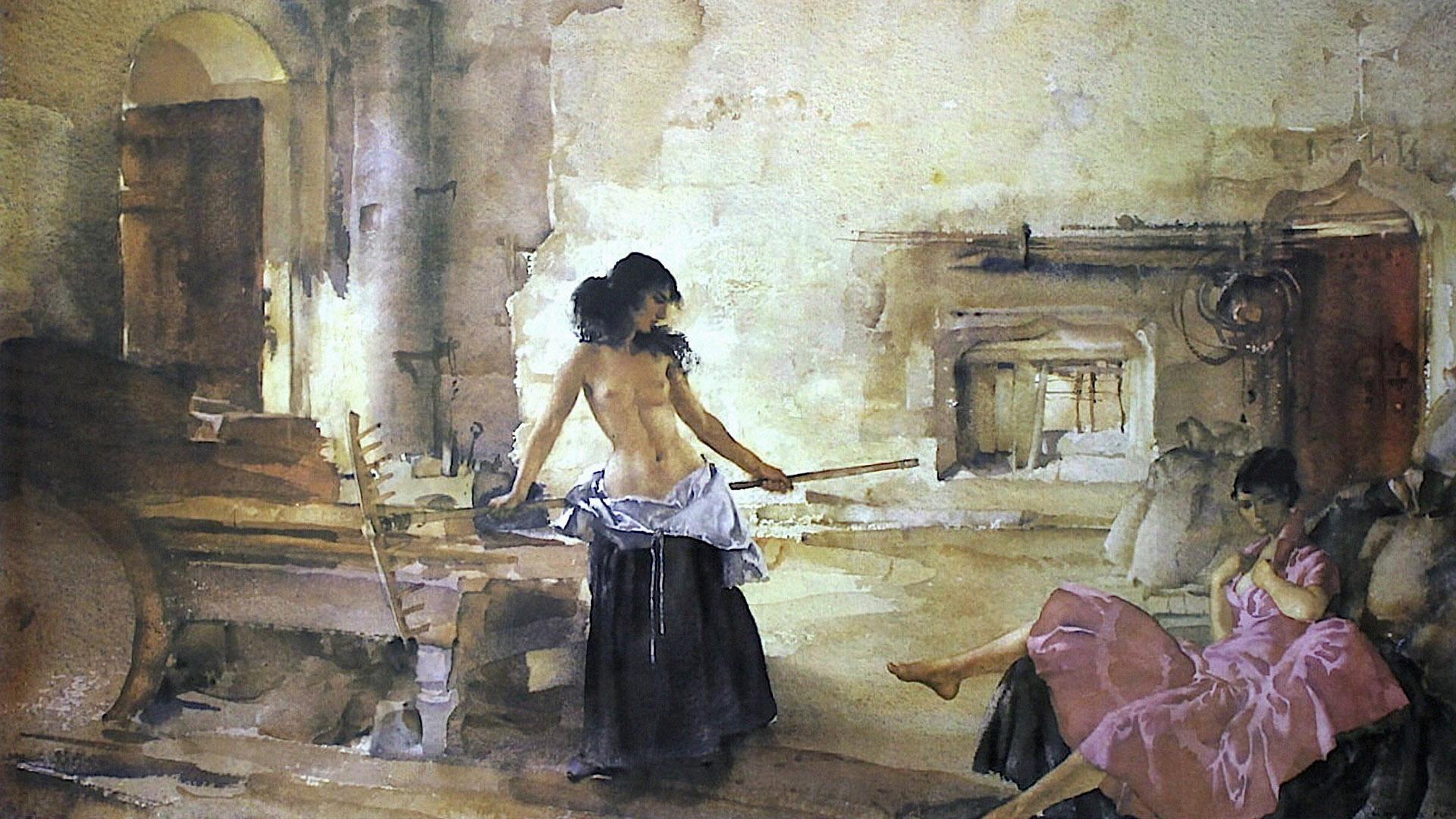 William Russell Flint - In a Burgundian Granary 1920x1080