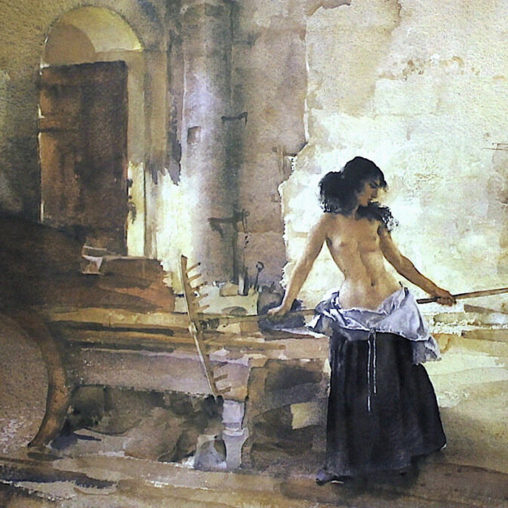William Russell Flint - In a Burgundian Granary d