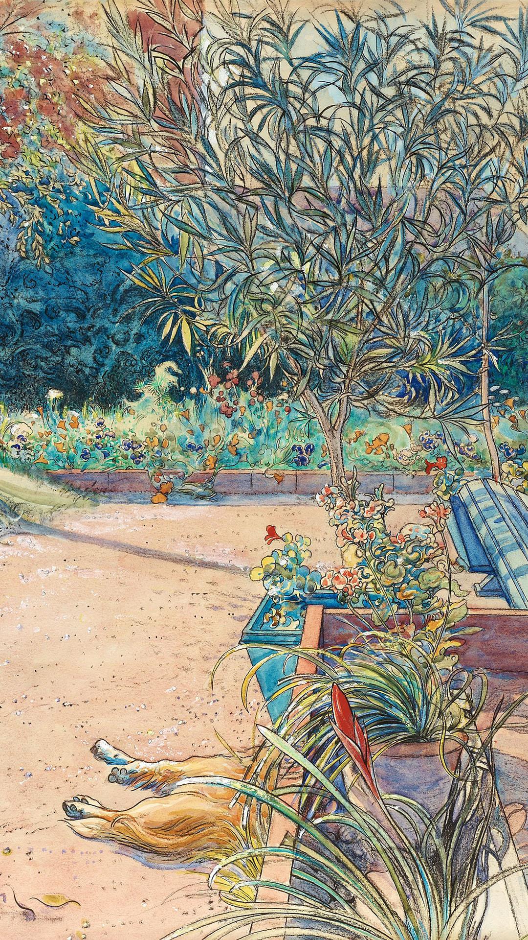 カール・ラーション Carl Larsson - My backyard 1080x1920