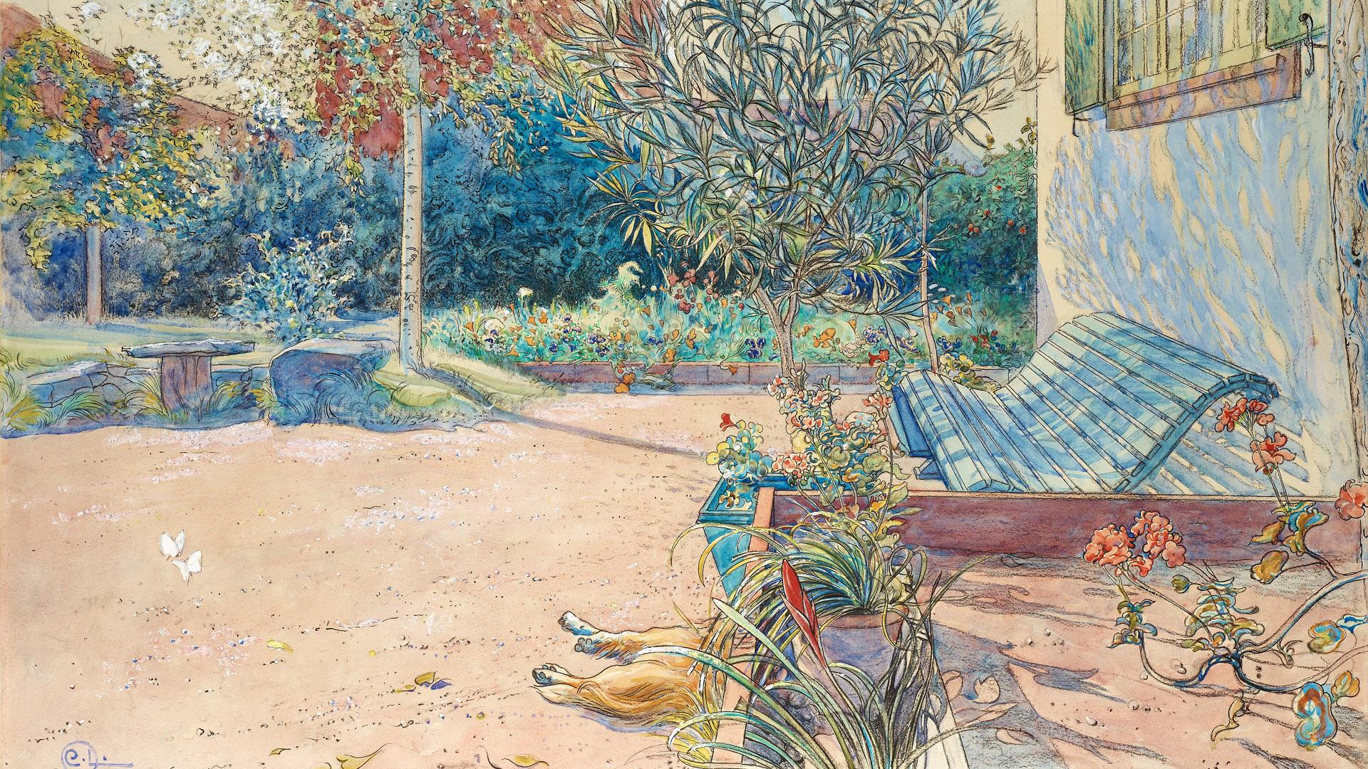 カール・ラーション Carl Larsson - My backyard 1920x1080