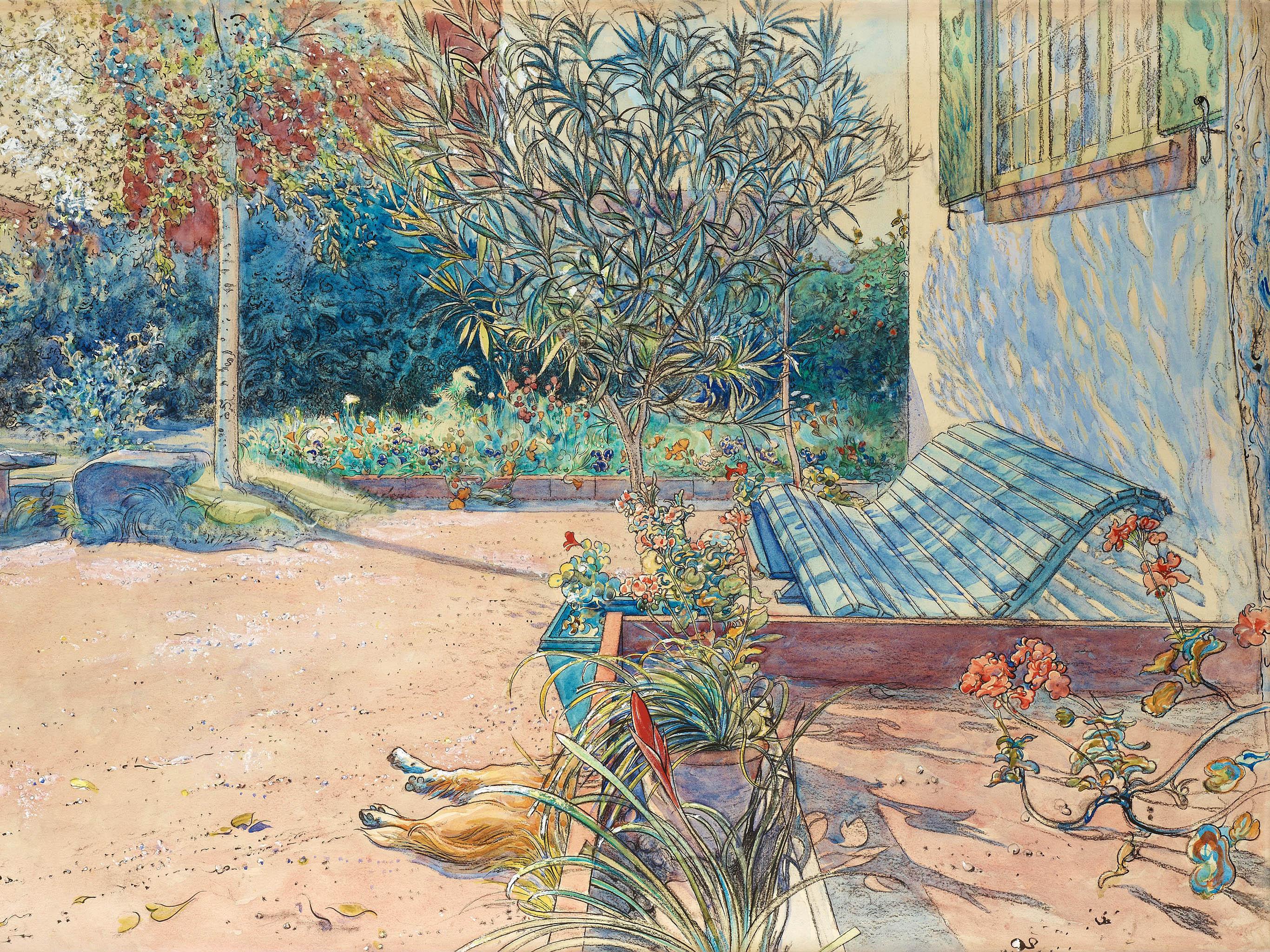 カール・ラーション Carl Larsson - My backyard 2732x2048
