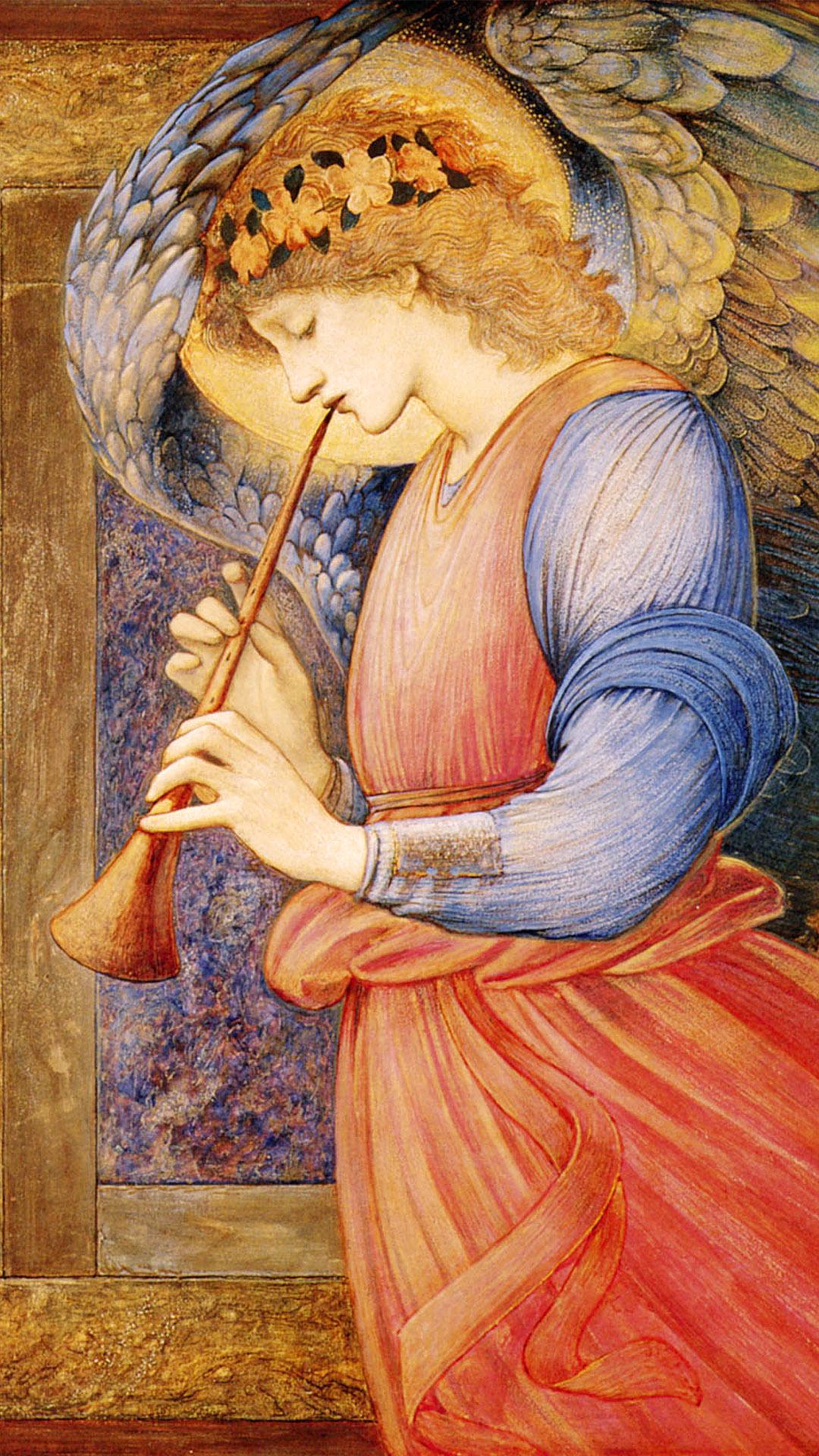 Edward Coley Burne-Jones - n Angel Playing a Flageolet 1080x1920