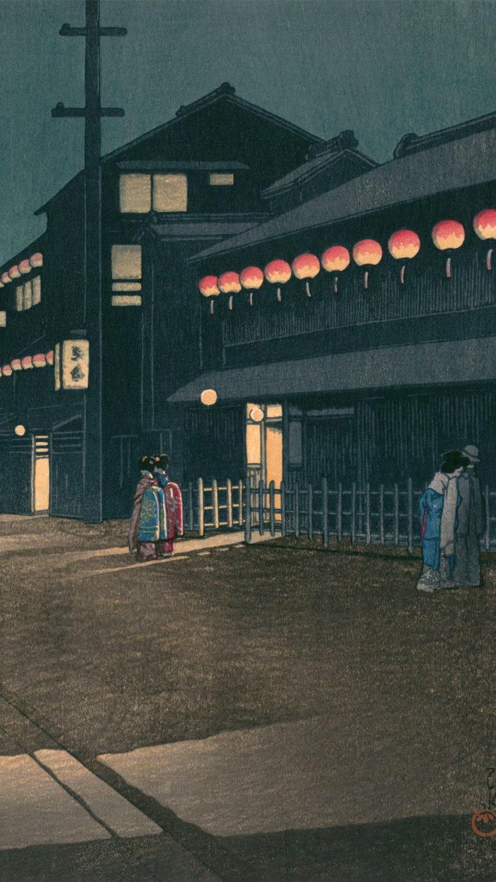 川瀬巴水 大坂宗右衛門町の夕 Kawase Hasui - Osaka souemon cho no yu 1080x1920