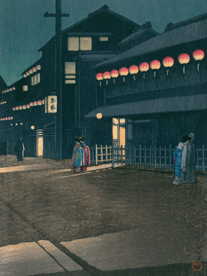 川瀬巴水 大坂宗右衛門町の夕 Kawase Hasui - Osaka souemon cho no yu 2048x2732