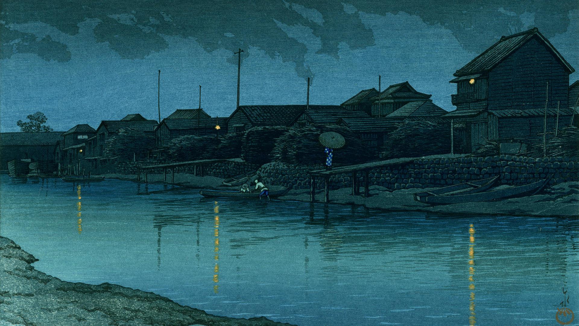 川瀬巴水 大森海岸 Kawase Hasui - Tokyo 20 kei omori kaigan 1920x1080