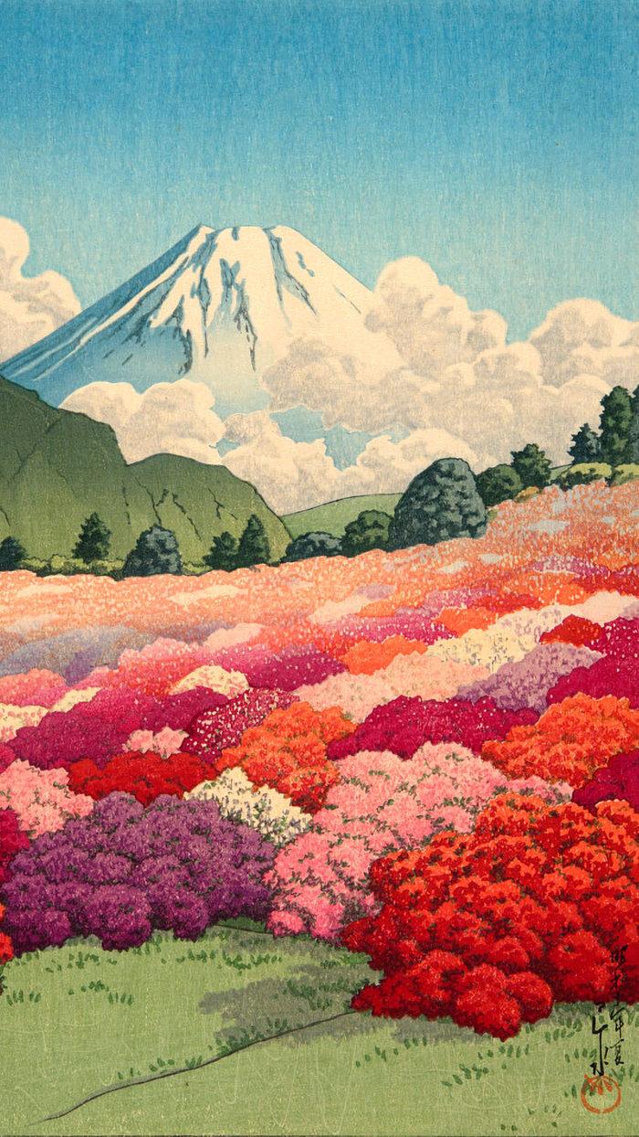 川瀬巴水 つつじ庭より富士を見る Kawase Hasui - Tsutsuji tei yori fuji wo miru 1080x1920