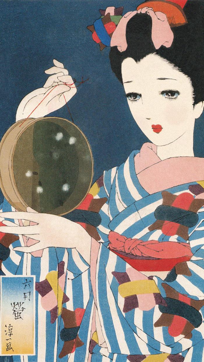 中原淳一 娘十二ヶ月絵巻 六月 蛍 Nakahara Junichi - Musume 12 emaki 06 Hotaru 1080x1920