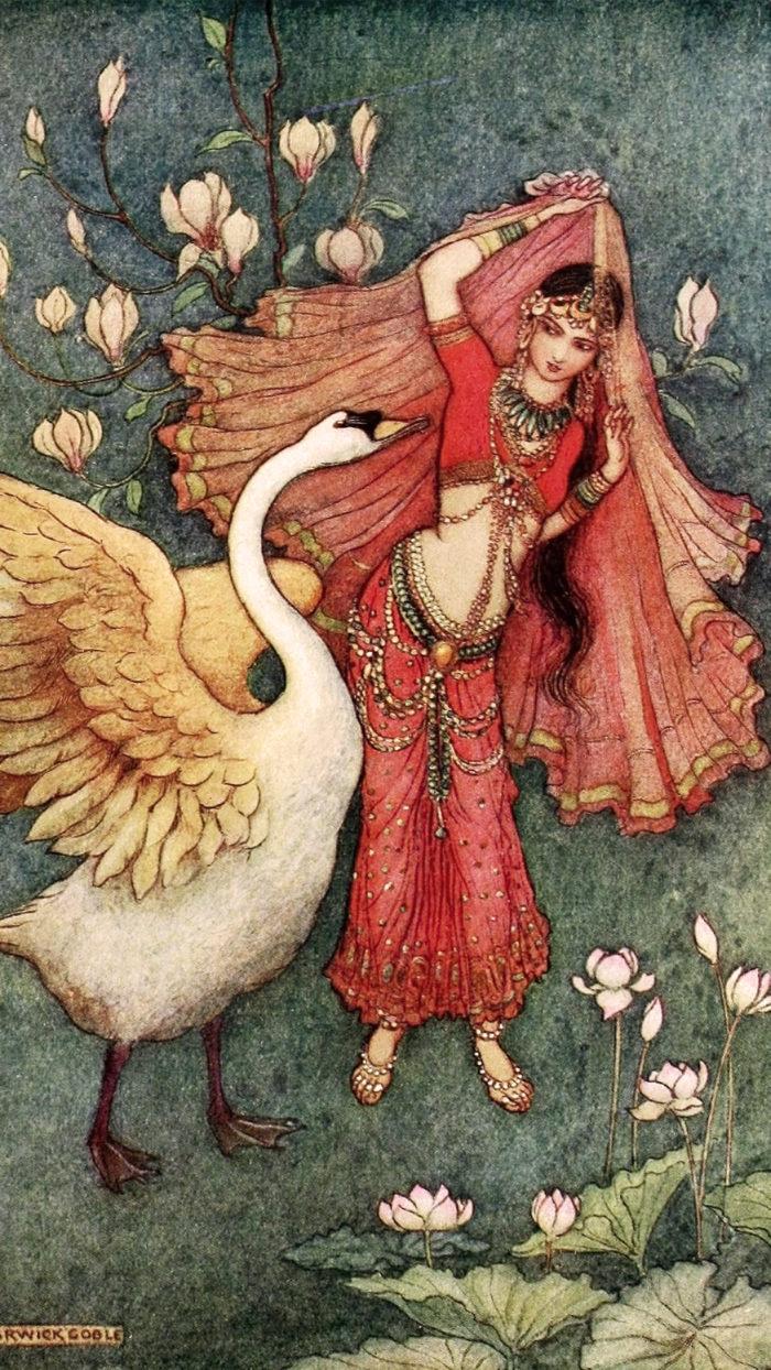 ワーウィック・ゴブル Warwick Goble - Damayanti And The Swan 1080x1920