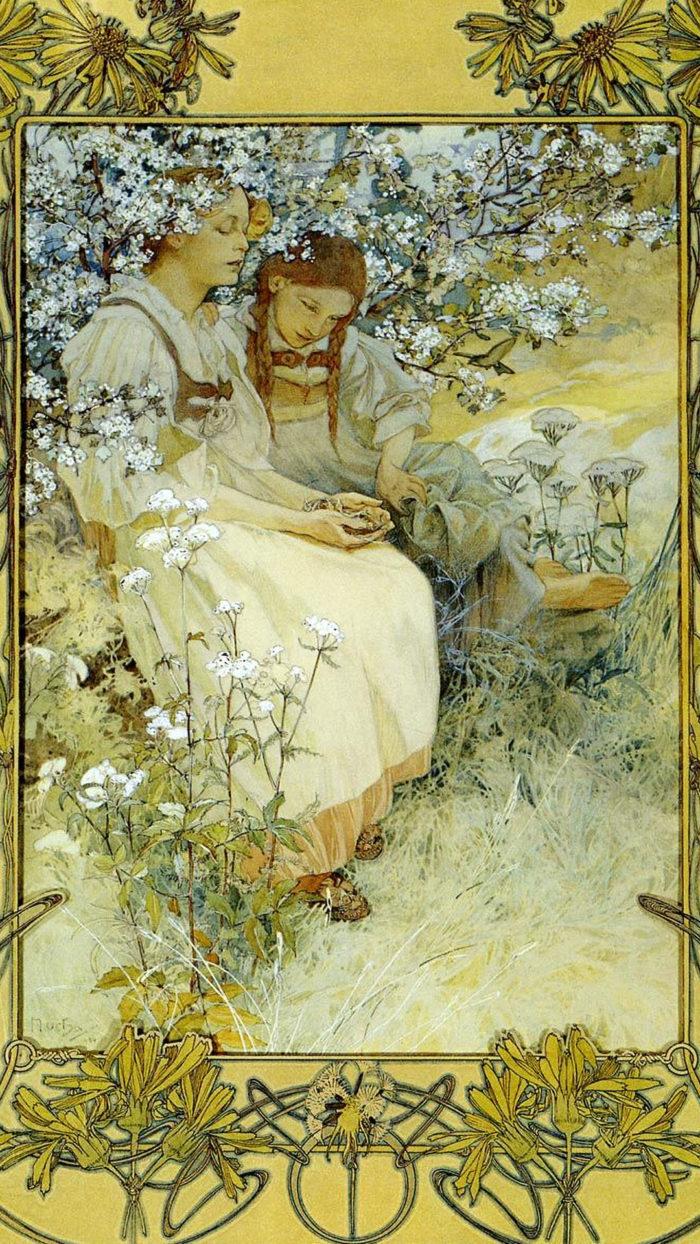 ミュシャ Alfons Maria Mucha - Blessed are the pure of heart 1080x1920
