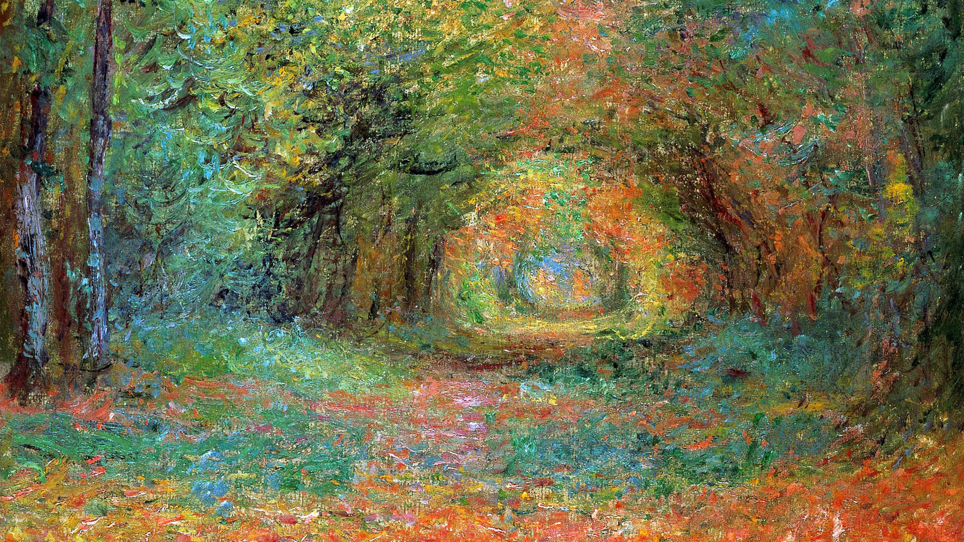 クロード・モネ Claude Monet - The Undergrowth in the Forest of Saint-Germain 1920x1080
