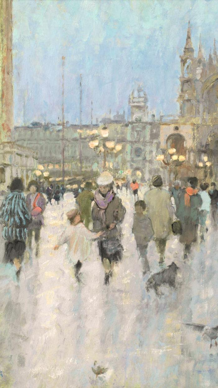 ダイアナ・アームフィールド Diana Maxwell Armfield RA - Dusk in the Piazzetta, Venice 1080x1920