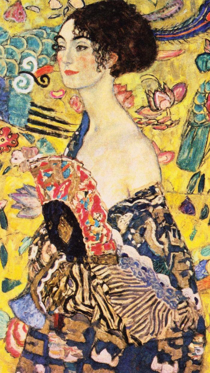 クリムト Gustav Klimt - Lady with A Fan 1080x1920
