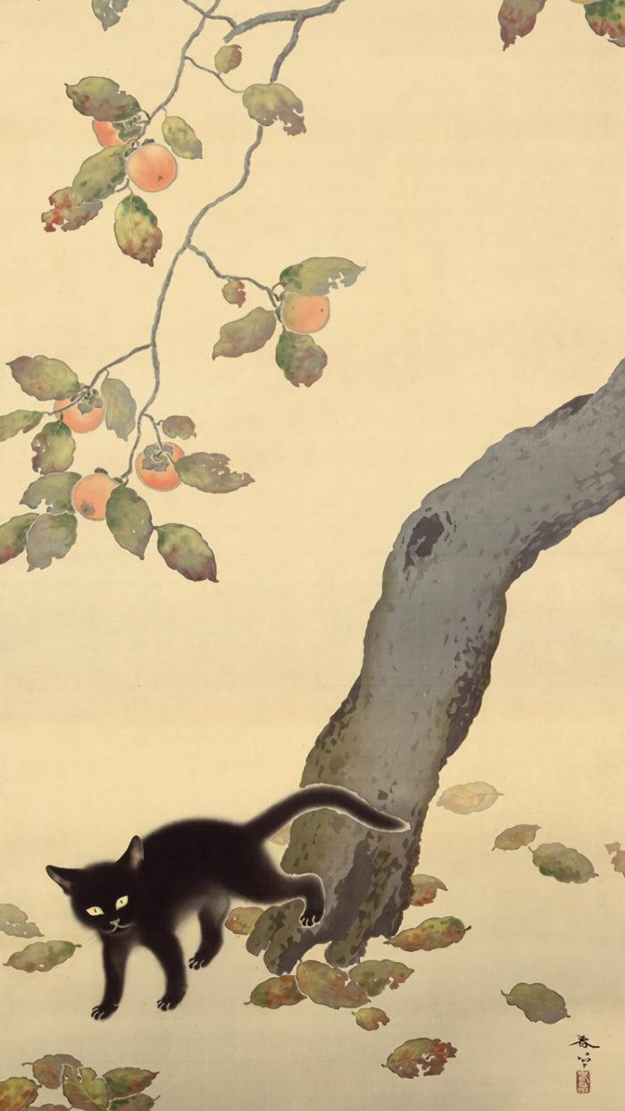 菱田春草 柿に猫 Hishida Shunso - Kaki ni neko 1080x1920