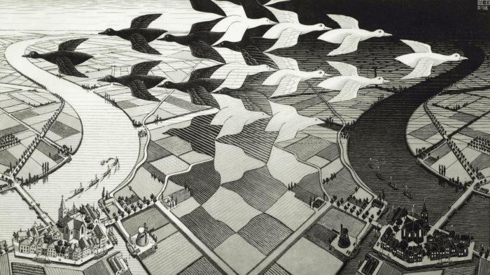 マウリッツ・エッシャー Maurits Cornelis Escher - Dag en nacht 1920x1080