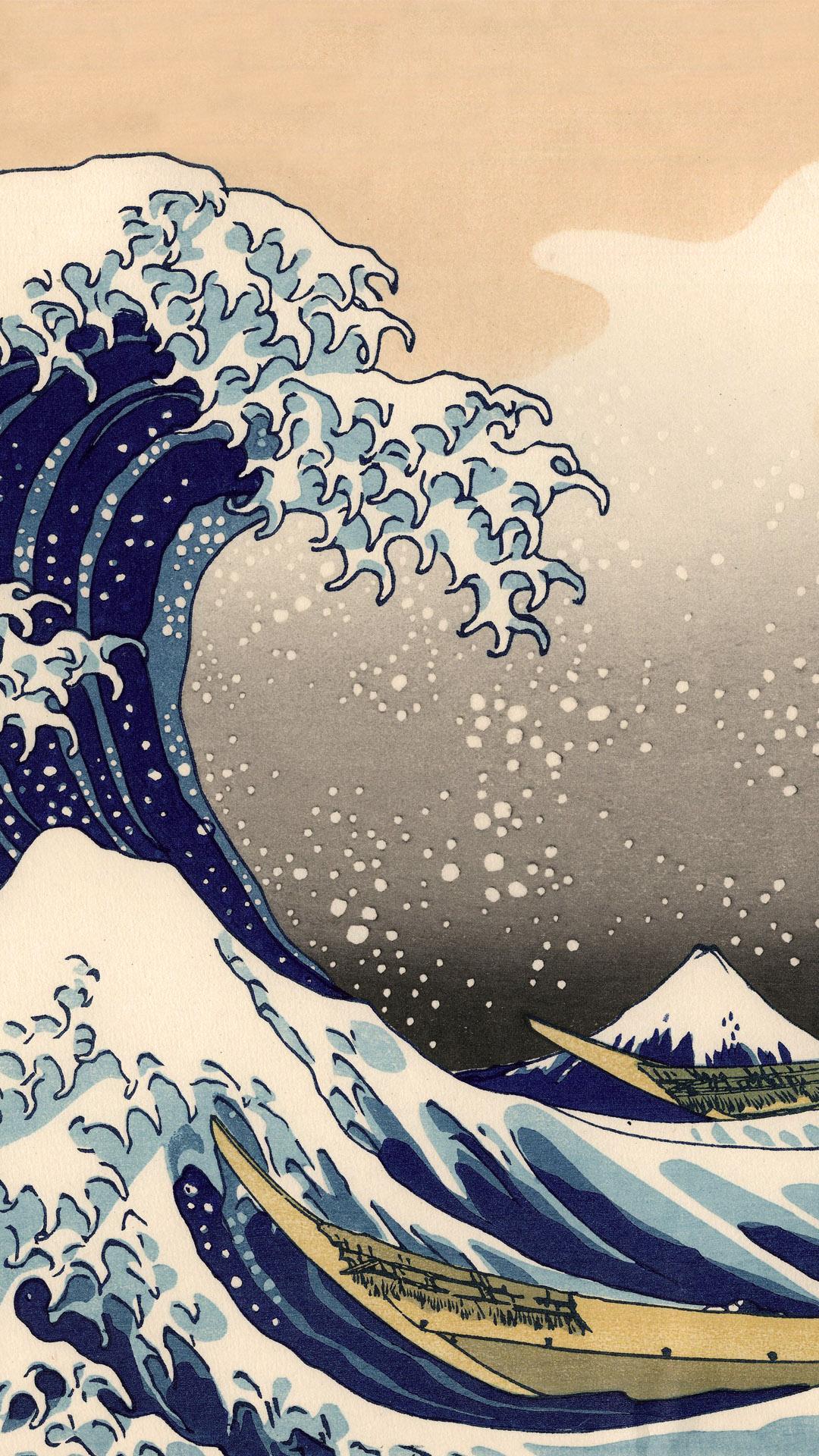 富嶽三十六景 神奈川沖浪裏 Katsushika Hokusai – 36 Kanagawa oki namiura 1080x1920