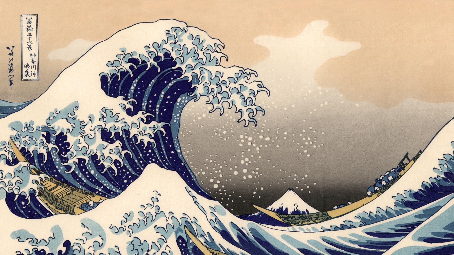 富嶽三十六景 神奈川沖浪裏 Katsushika Hokusai – 36 Kanagawa oki namiura 1920x1080