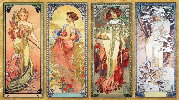 ミュシャ Alphonse Mucha - The Seasons 1900 1920x1080