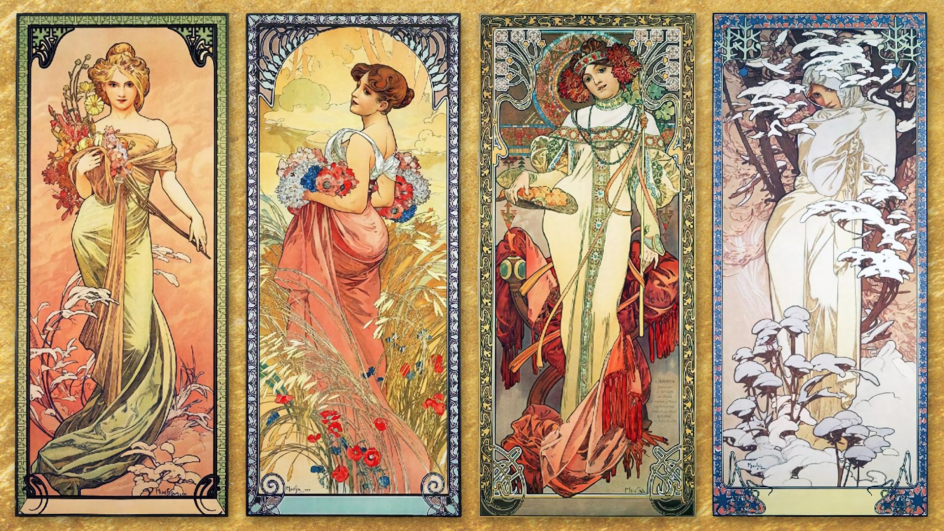 ミュシャ Alphonse Mucha - The Seasons 1900 1920x1080
