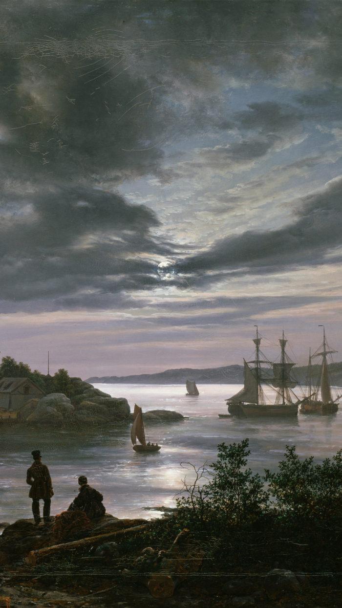 ヨハン・クリスチャン・ダール Johan Christian Dahl - Larvik by Moonlight 1080x1920