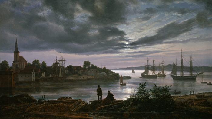 ヨハン・クリスチャン・ダール Johan Christian Dahl - Larvik by Moonlight 1920x1080