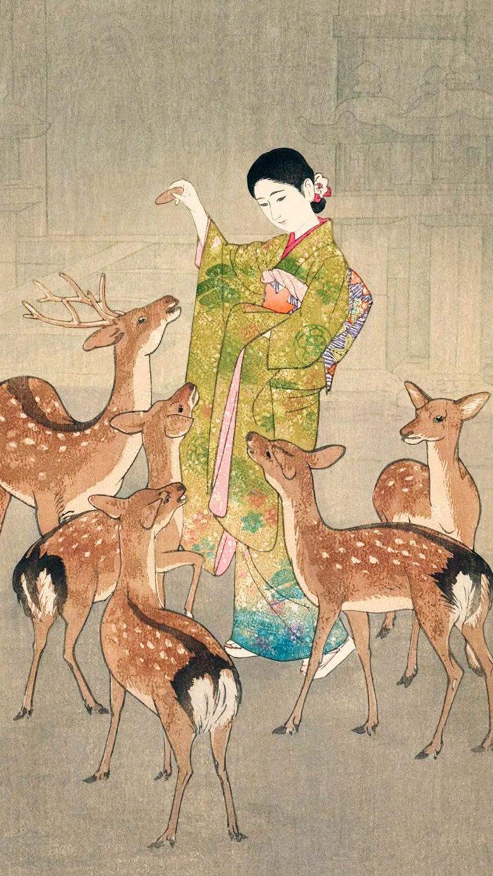 笠松紫浪 奈良の鹿 Kasamatsu shiro - Nara no shika 1080x1920