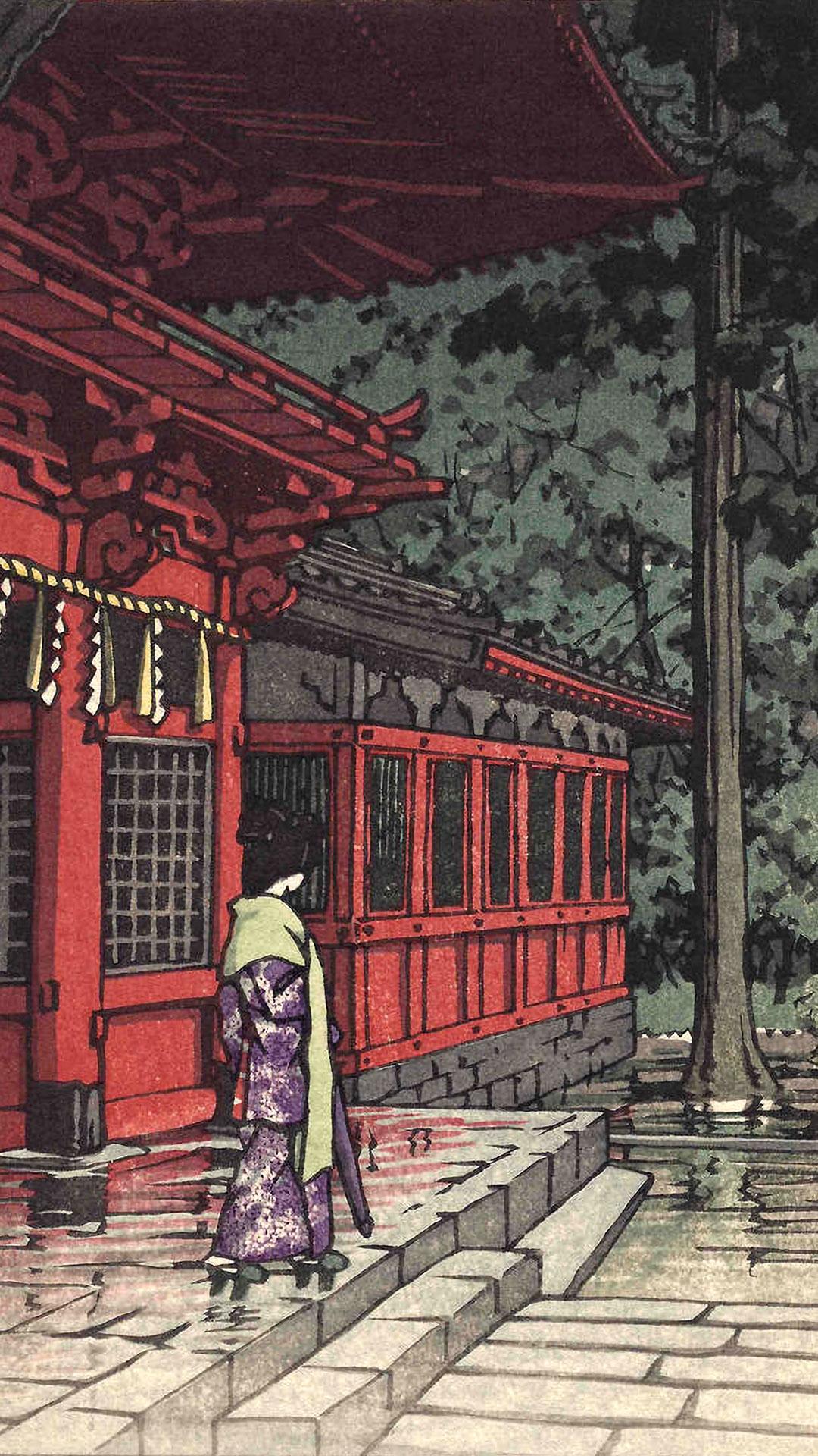 川瀬巴水 日枝神社 Kawase Hasui - Hie jinja 1080x1920