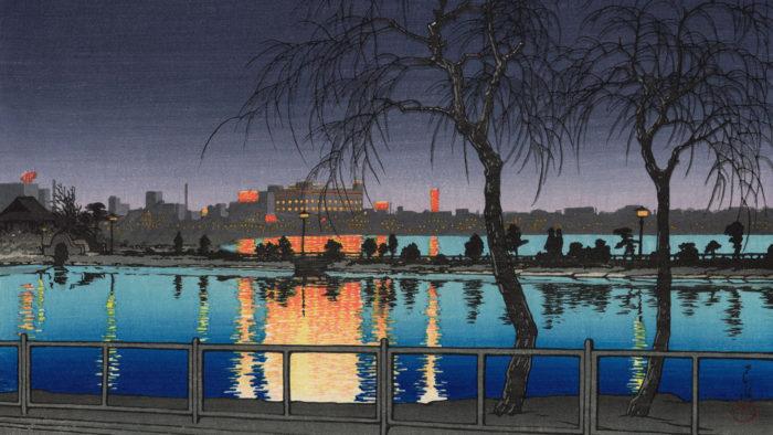 川瀬巴水 夜の池畔 不忍池 Kawase Hasui - Yoru no chihan shinobazunoike 1920x1080