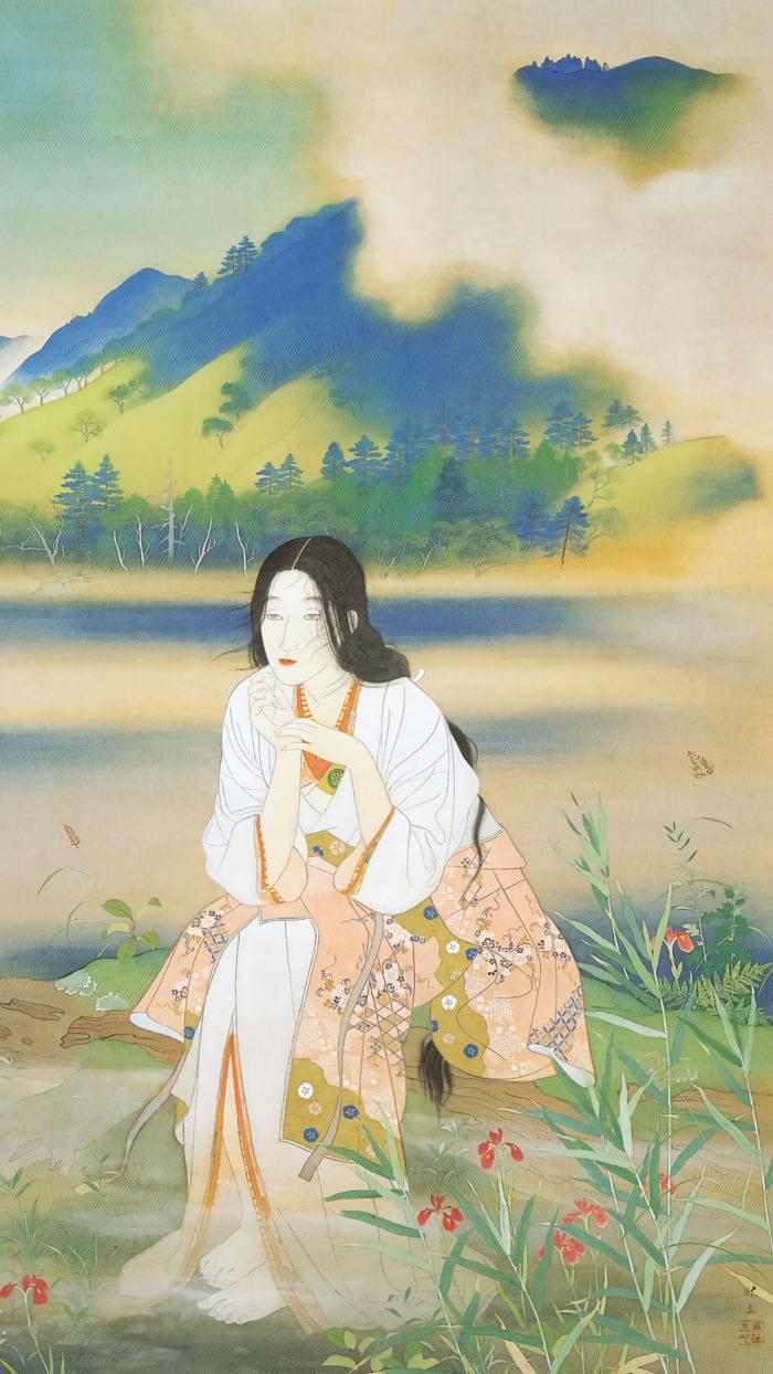 松岡映丘 伊香保の沼 Matsuoka eikyu Ikaho no numa 1080x1920