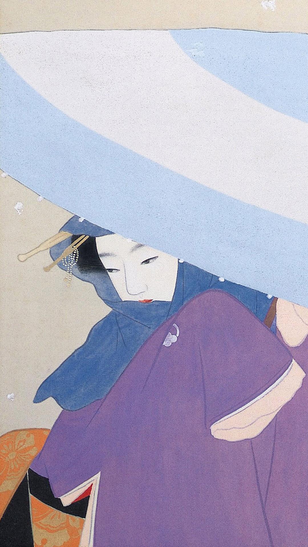 上村松園 牡丹雪 Uemura Shoen - Botan yuki 1080x1920 2