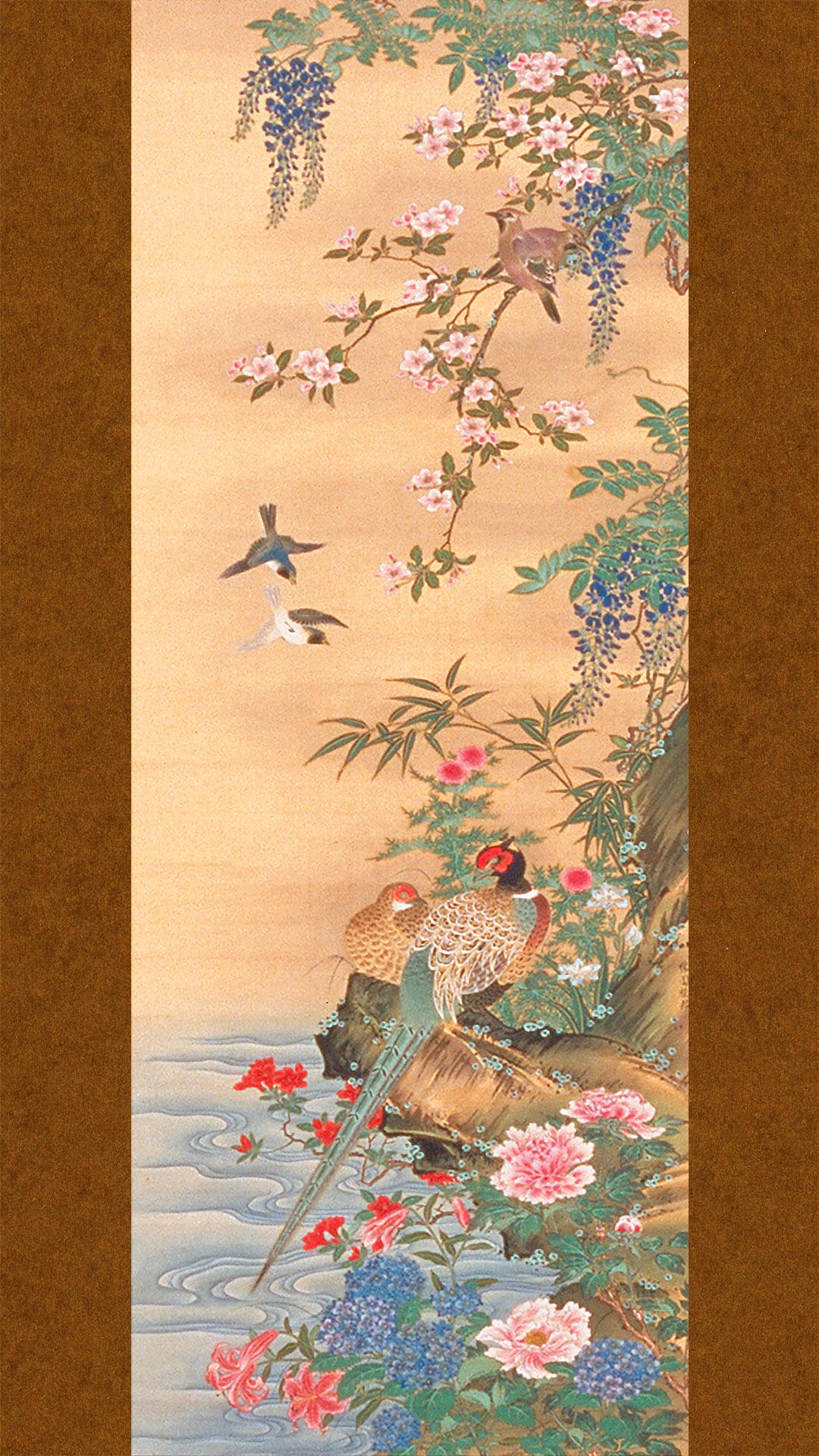 橋本雅邦 四季花鳥図 右 Hashimoto Gaho – Shiki kacho zu migi 1080x1920