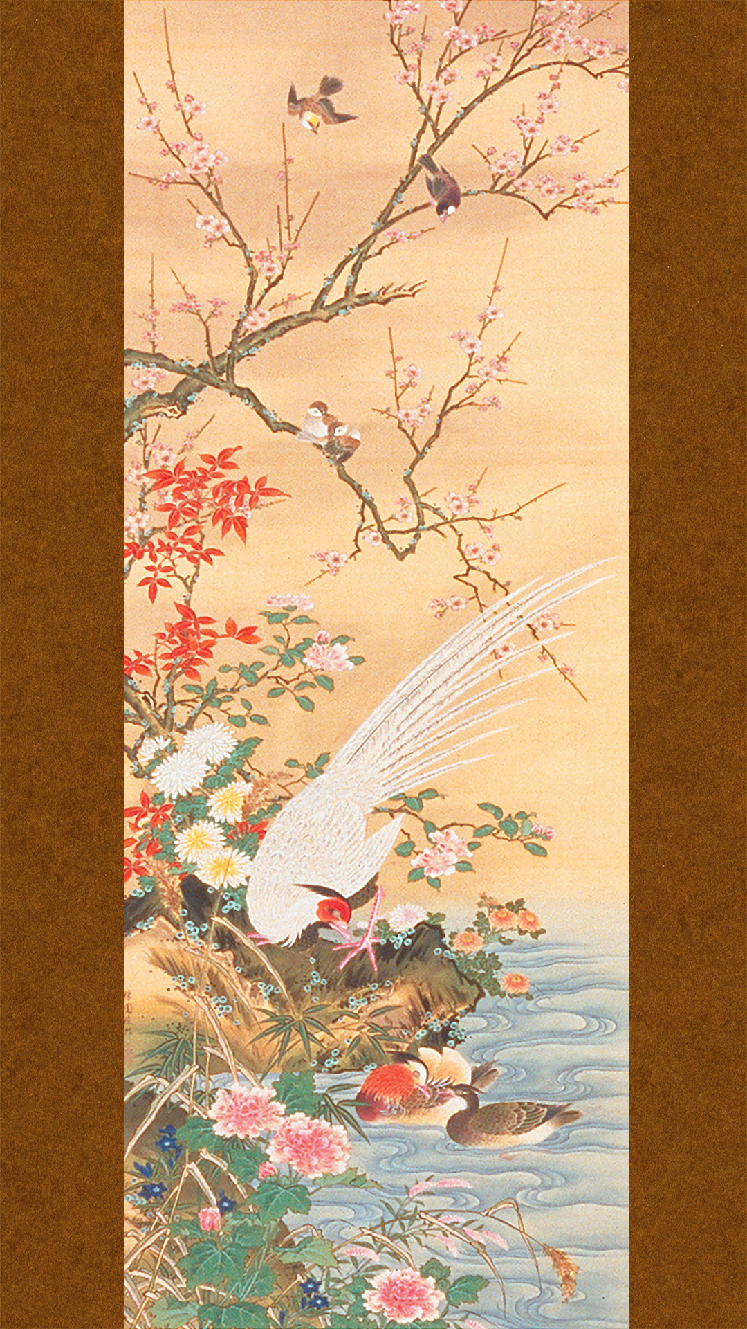 橋本雅邦 四季花鳥図 左 Hashimoto Gaho – Shiki kacho zu hidari 1080x1920