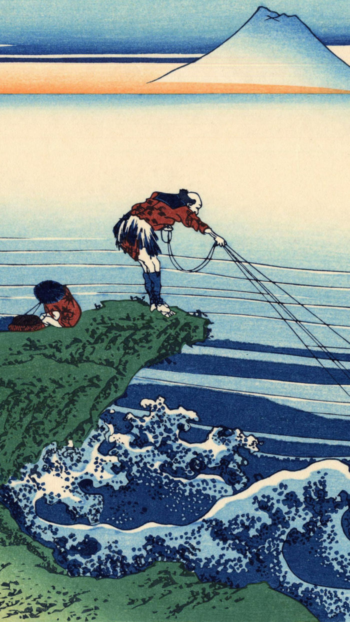 富嶽三十六景 甲州石班澤 Katsushika Hokusai – 36 Koshu kajikazawa 1080x1920