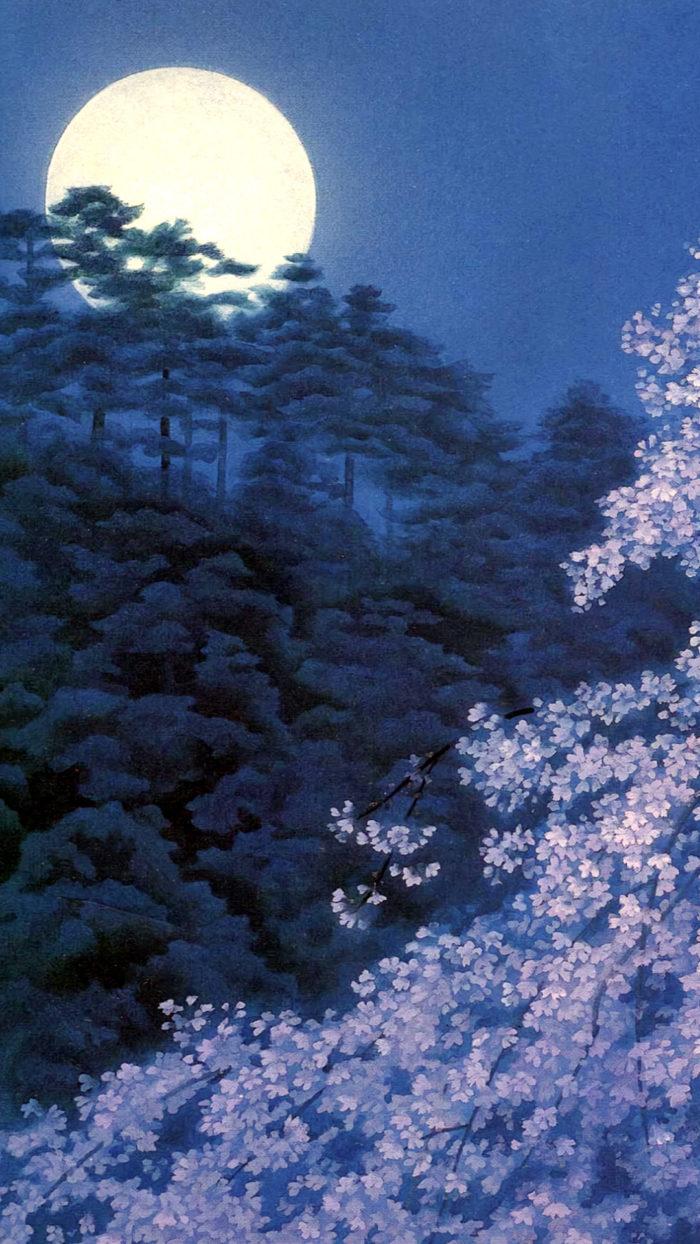 東山魁夷 宵桜 Higashiyama Kaii - yoizakura 1080x1920