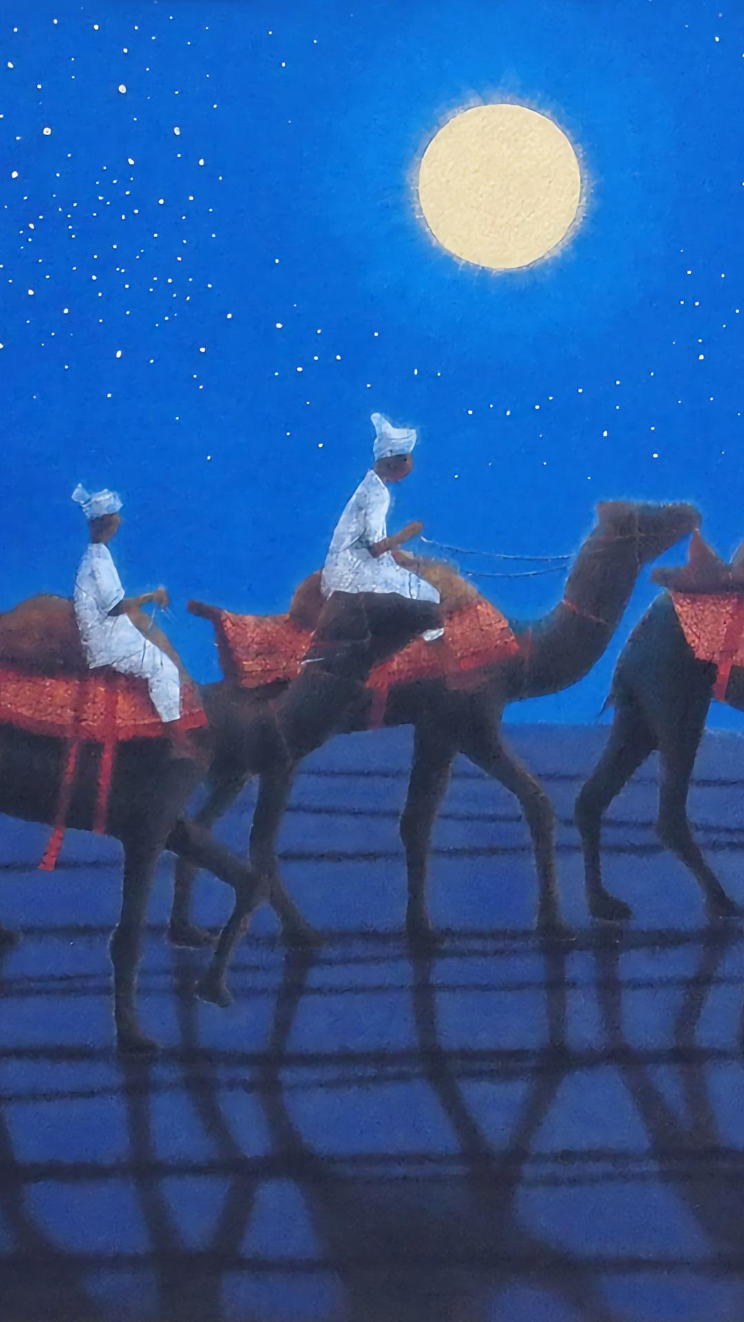 平山郁夫 シルクロードを行くキャラバン(西・月) Hirayama Ikuo - Caravan on the Silk Road 1080x1920