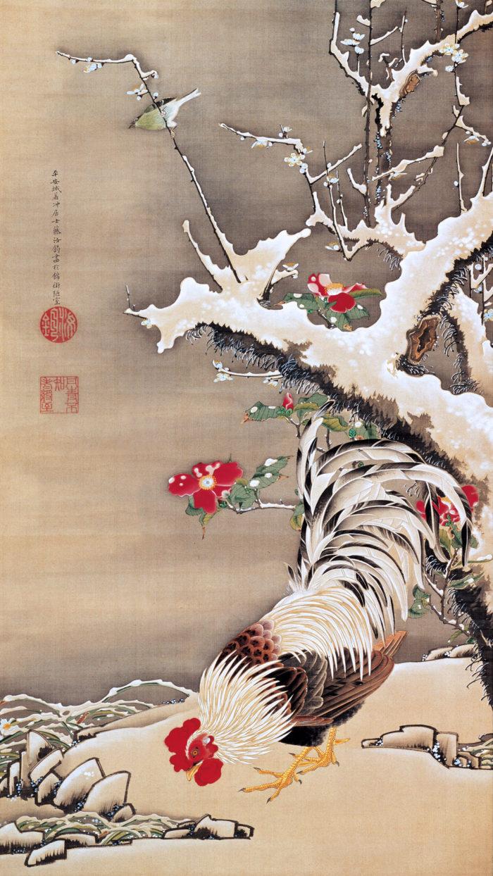 伊藤若冲 雪梅雄鶏図 Ito Jakuchu - Setsubai yukaku zu 1080x1920